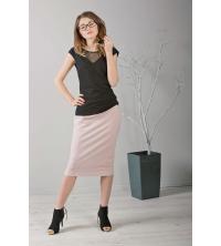 Elegancka spódnica ołówkowa, różowa za kolano