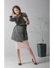 Elegancki kardigan z czarną bluzką z tiulem i ołówkową spódnicą
