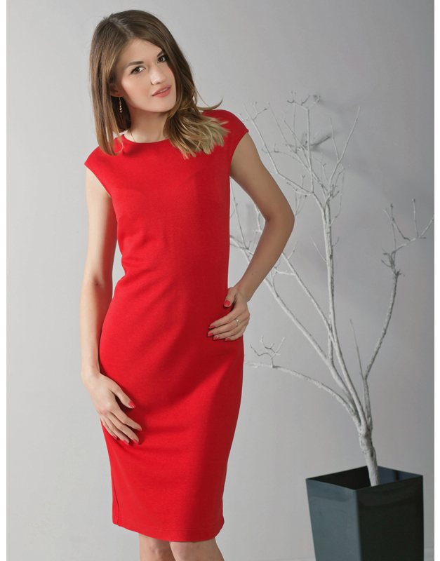 e77fba5c79 Do wyraziście czerwonej sukienki możesz dodać czarną marynarkę
